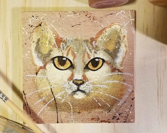 Sand Cat Small Rustic Painting