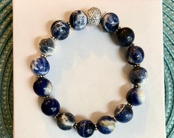 Blue Awareness Bracelet - Marbled -Colon Cancer Awareness - Alopecia Awareness - Awareness Gift - Inspirational Gift - Recovery Gift