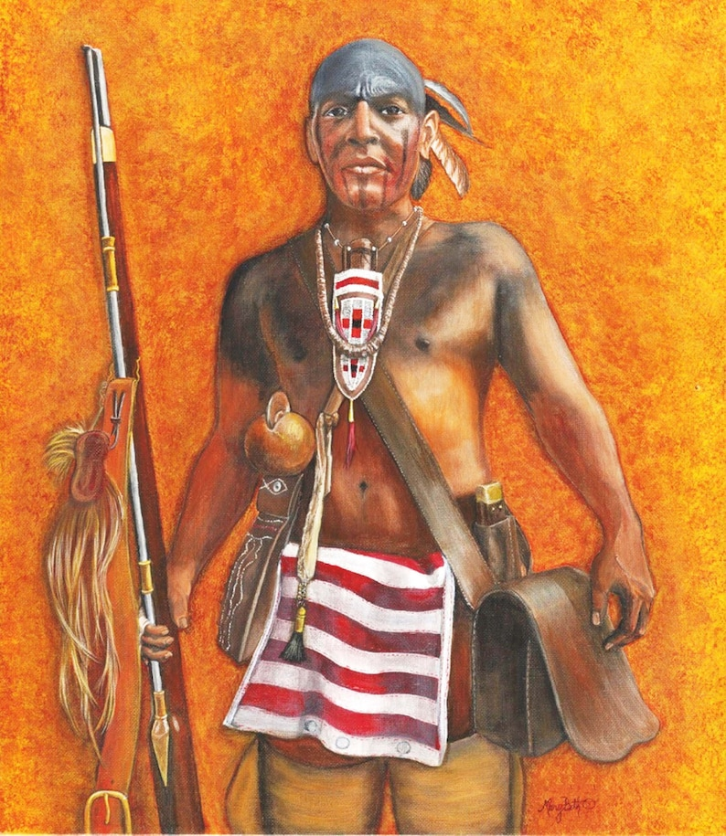 Portrait of Native American  SouthEast warrior image 6 x 8 inches
