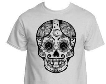 Skull Graphic Tee, Tattooed Skull Graphic T Shirt, Skeleton T Shirt, Day of the Dead T-Shirt, Dia de Muertos Shirt, Made to Order
