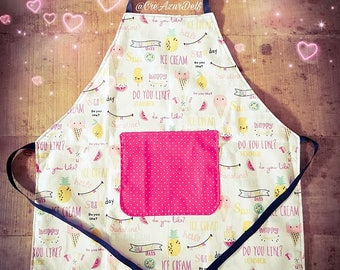 Ice Cream reversible 2/5 years girl apron