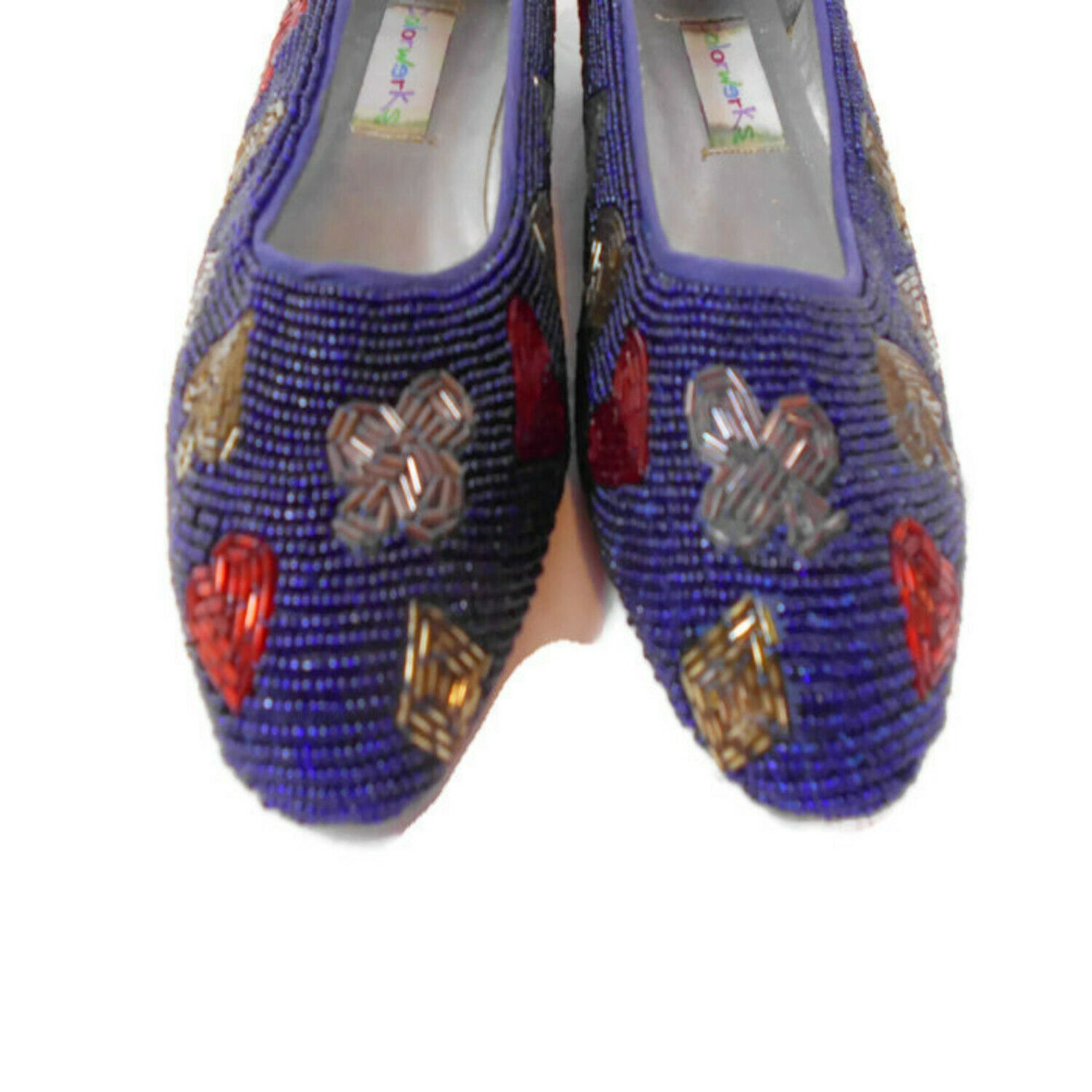 1992 beaded card suit ballet flats colorworks