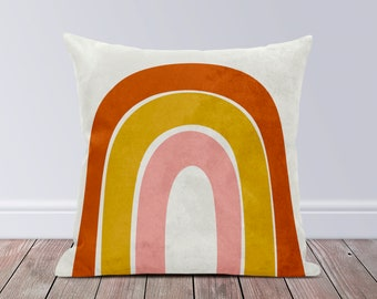 Modern Couch Cushion Yellow Faux Leather Throw Pillow Mustard Faux Suede Rainbow Pillow Accent Pillows for Couch