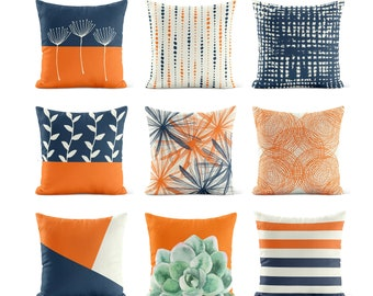 Orange Navy Throw Pillow Cover   Pillow Covers Pillow Cases   Couch Pillows   Decorative Pillows