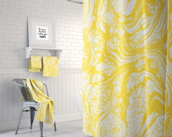 Yellow Marble Print Shower Curtain