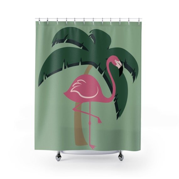 Pink Flamingo Shower Curtain Tropical