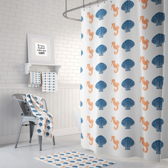 Shell And Seahorse Shower Curtain Blue Orange