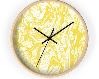 Yellow Marble Wall Clock | Unique Wall Clock | 10 Inch Modern Wall Clock | Marble Decor | Round Wall Clock