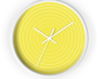 Yellow Wall Clock | Unique Wall Clock | Decorative Wall Clock | 10 Inch Modern Wall Clock | Round Wall Clock