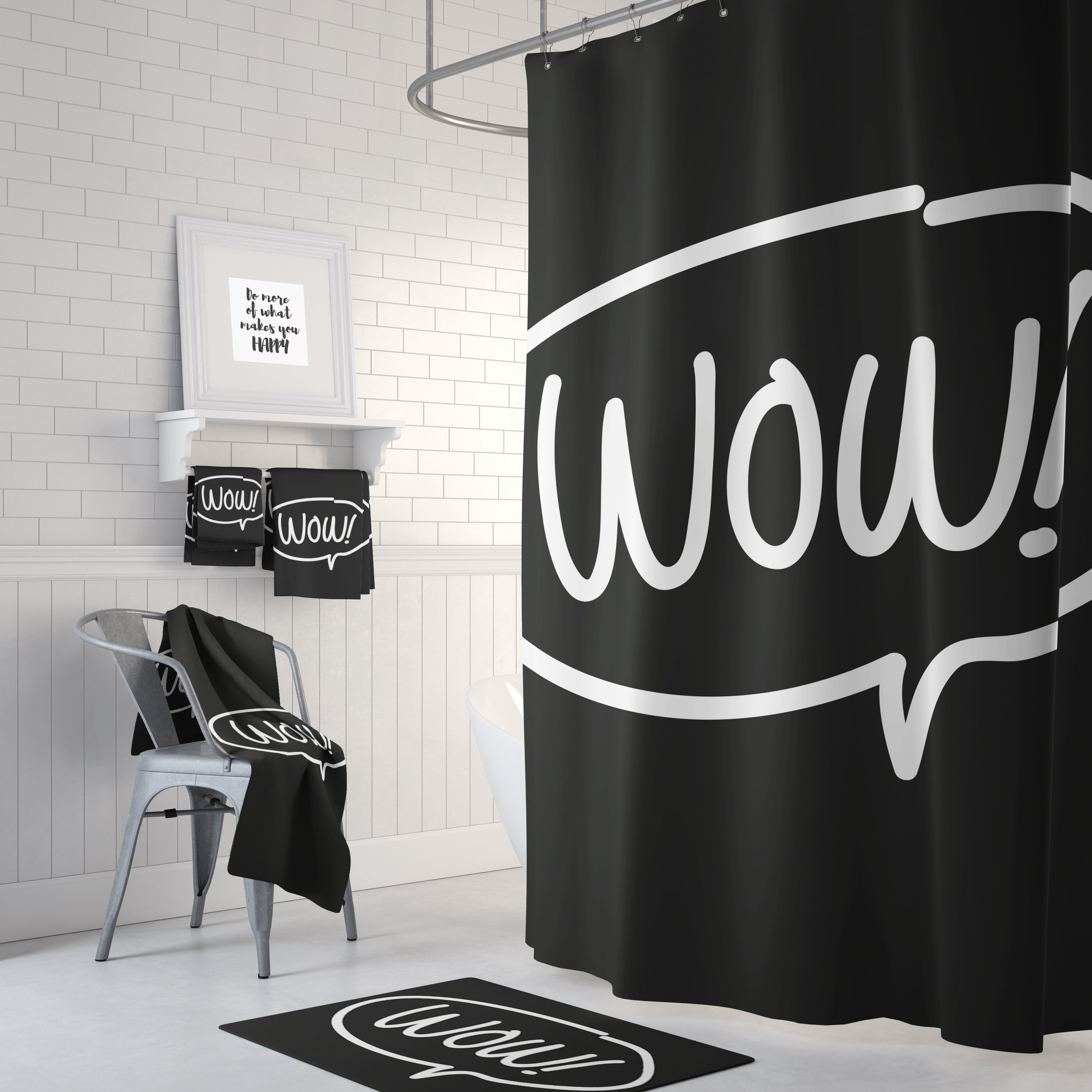 Black Wow Shower Curtain Funny Shower Curtain Bathroom Curtain Bath Decor Black Bathroom Decor