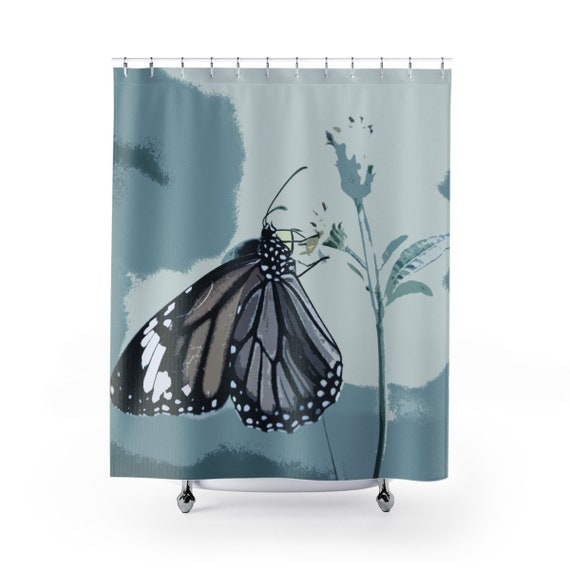 Blue Butterfly Shower Curtain