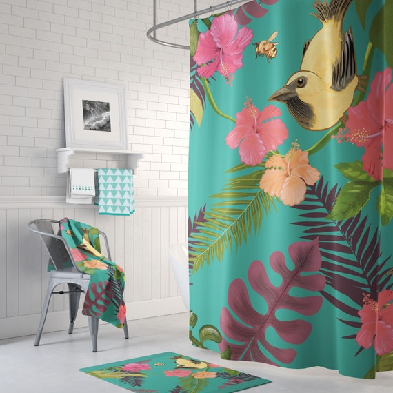 Birds And Bees Shower Curtain Green Red Yellow