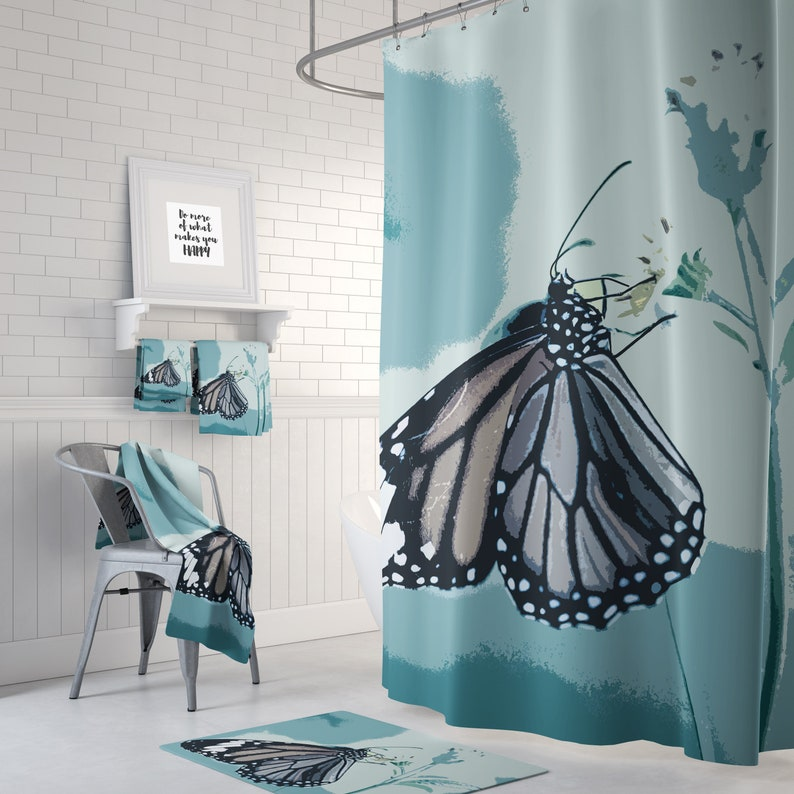 Blue Butterfly Shower Curtain Bathroom
