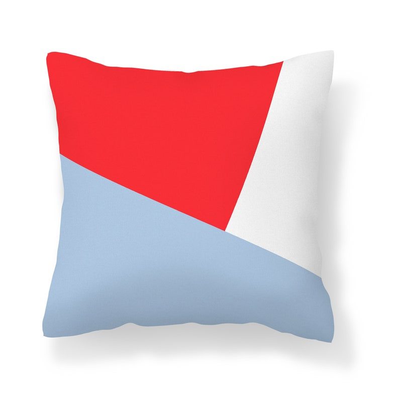 Red Navy Light Blue Throw Pillow Cover Unique Couch Cover Mix and Match Pillow Cases