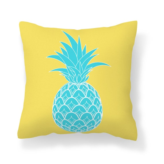 Yellow Turquoise Pineapple Throw Pillow Cover Home Etsy