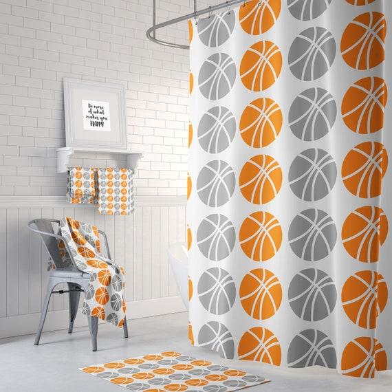 Basketball Shower Curtain Orange Gray
