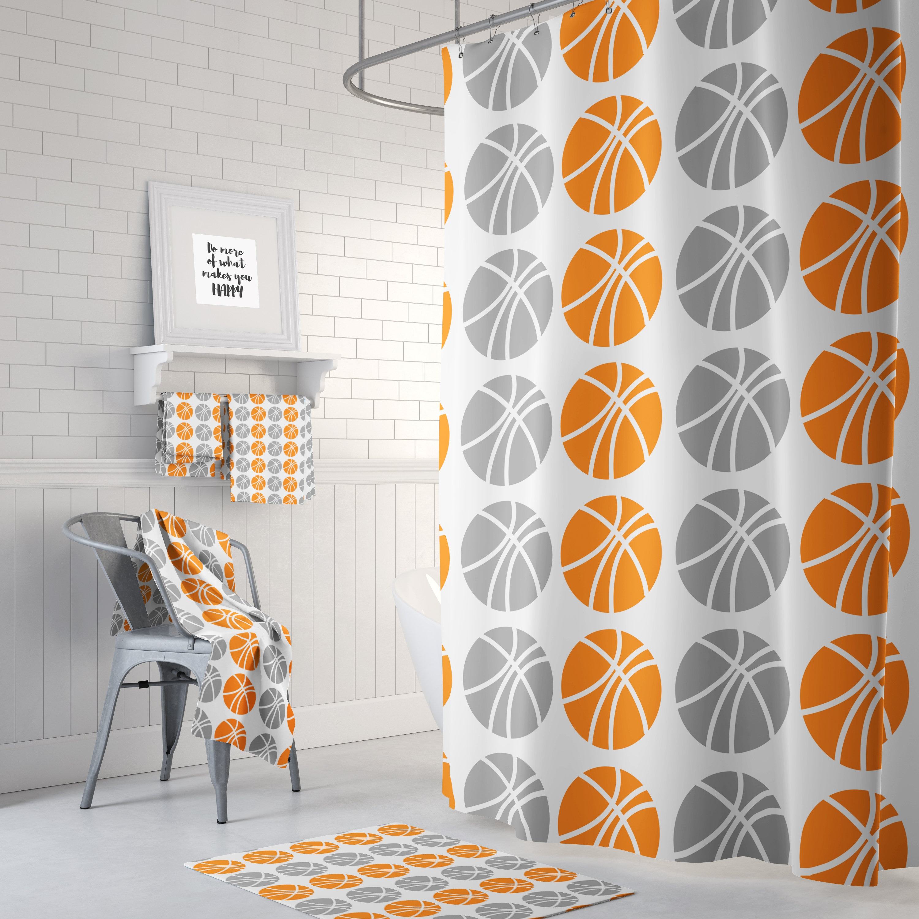 Basketball Shower Curtain Orange Gray