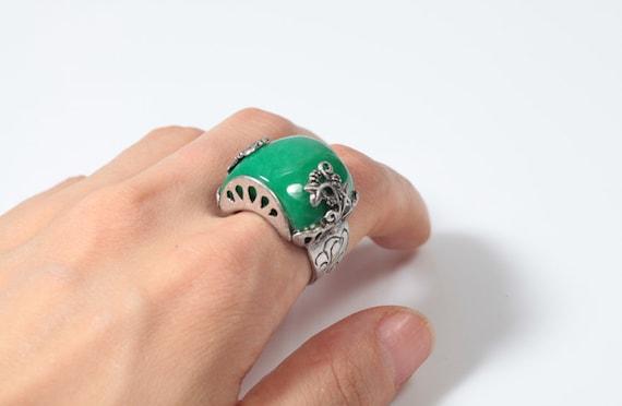 Jade Ring Size Adjustable Korean Traditional Hanbok Handmade Accessory \ud55c\ubcf5\ubc18\uc9c0 3096