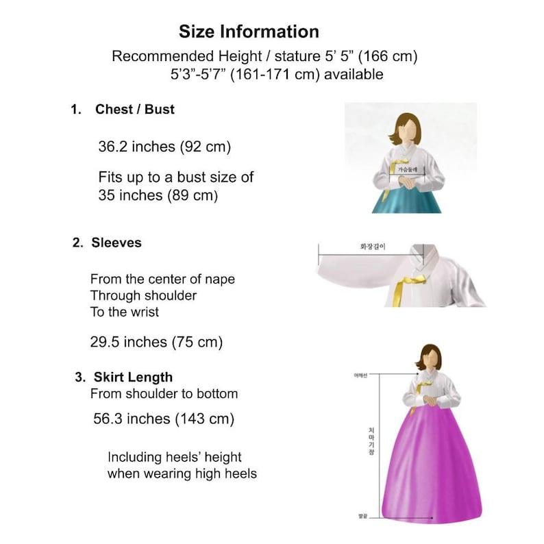5/'5 92cm AY195 Hanbok Korean Traditional Dress Set for Women M-size 34.2 166cm