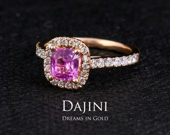 45c1b5c31 Pink Sapphire Engagement Ring - 14K 18K Rose Gold - 1.06 Carat Cushion Cut  - Rings for Women - Jewelry - Wedding - Mother's Day - Taormina