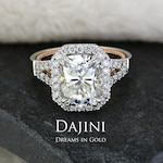 Moissanite Engagement Ring - 3.9 Carat - Elongated Cushion - Split Shank Two Tone White Rose Gold Diamond Halo Pave Jewelry - Mother's Day