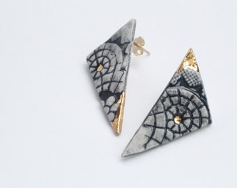Black, white, and 22kt gold Radiance Triangle Earrings