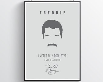 Freddie Mercury 27 Rock Metal Band Poster Star Legends Photo Queen Music Quote