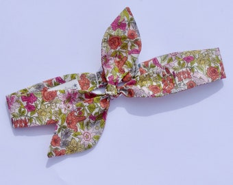 Toddler/ Child's Tied Bow adjustable Headband - in Liberty Phyllis print