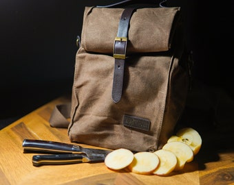 Waxed Canvas Insulated Lunch Bag - Aluminium Insulation - Keeps Food Hot & Cold