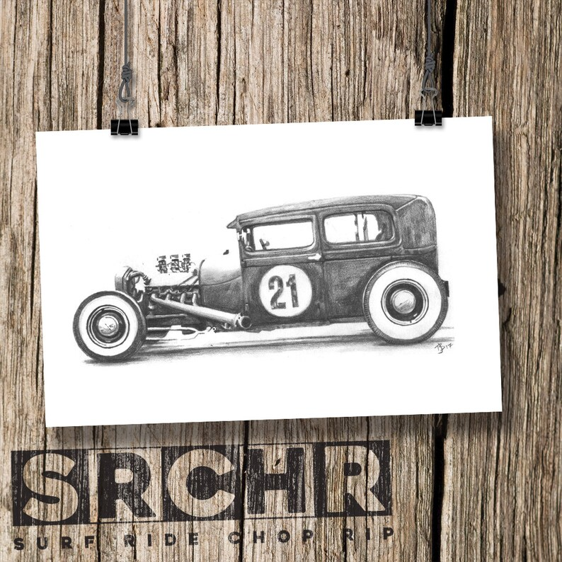 Art Print Number 21 Hot Rod Pencil Drawing