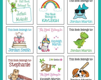 Square BOOK Labels for Kids, Sets of 20, Book Labels for Kids, Name Labels, Personalized
