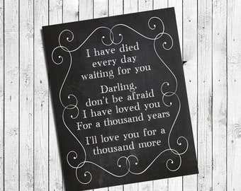 Thousand years etsy a thousand years lyrics instant download twilight music quote digital faux chalkboard design typography wall decor stopboris Gallery