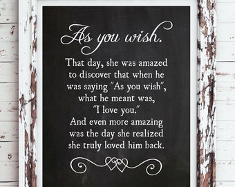 AS YOU WISH - Princess Bride Movie Quote 8x10 Typography Wall Art Poster Printable Instant Download