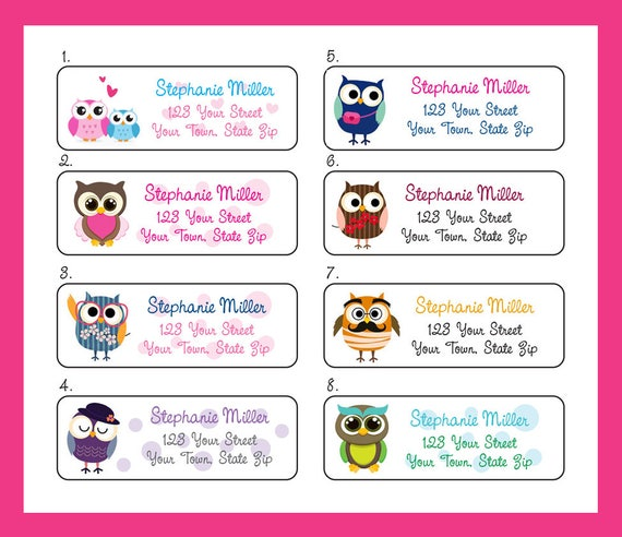 colorful and fun owls personalized return address labels owl etsy