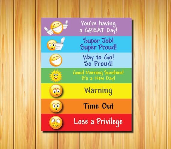 Behavior Chart For Kids Of All Ages Printable Digital Color Etsy