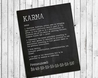 KARMA Definition INSTANT Download Digital Faux Chalkboard or Black and White Design Typography Wall Decor