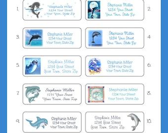 Delfin Personalisierte Adressaufkleber, Sätze von 30, Ihre Wahl des Designs