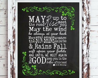 An IRISH BLESSING Instant Download Digital Faux Chalkboard Design Typography Wall Decor, St. Patrick's Day