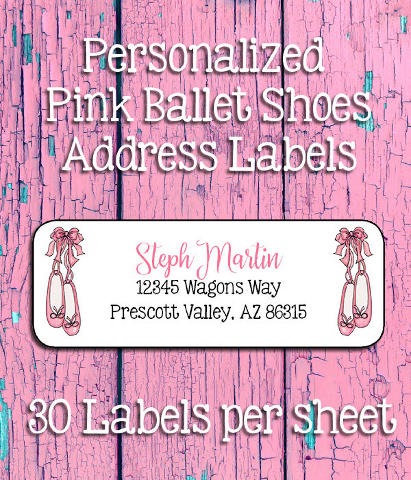 pink ballet shoes personalized address labels, return address labels, sets of 30, toe shoes