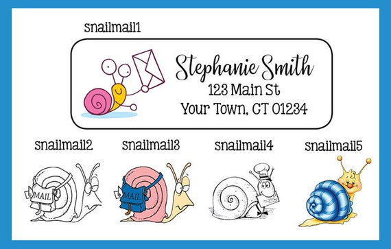 snail mail personalized address labels 30 per sheet snails etsy