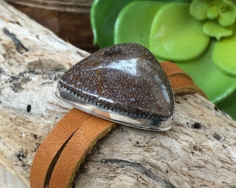 Dino Bone Bracelet / Polished Stone and Leather Cuff / Stone and Silver Bracelet / Fossil Bracelet / Artisan Jewelry / Gaia Bracelet