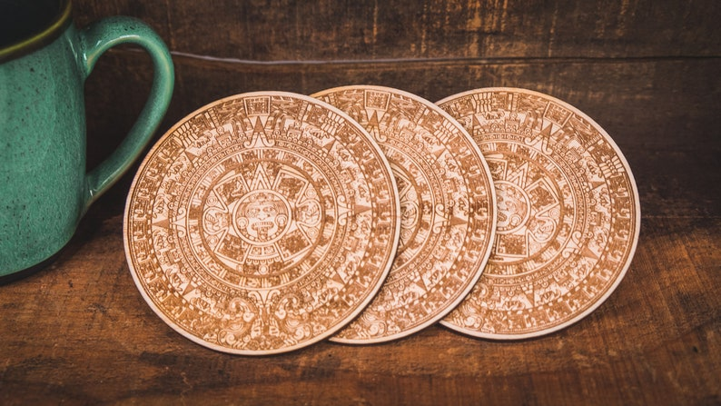Wooden Aztec Calendar Coaster Set Laser Cut Wood Engraved Wood Coasters Aztec Calendar Gift For Him Or Her Custom Coasters For Bar