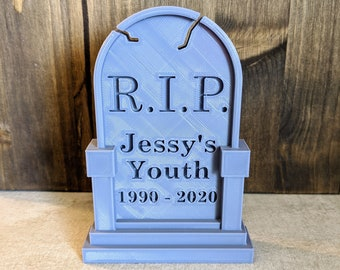 Custom Name and Year Tombstone Desk Décor | Grave Stone Halloween Party Table Decoration | Cake Topper | Office Theme Event | RIP Headstone