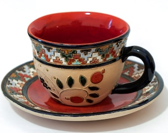 Handmade Ornamental Tea Cup With Plate Pottery Clay Majolica Glaze Lead Free