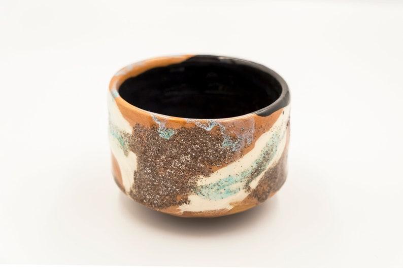 majolica one of a kind studio pottery Wabi Sabi Matcha tea bowl turquoise effects and quartz ornaments