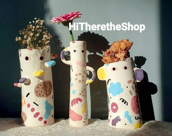 The Uncanny Collection - Handmade ceramic vase, home décor, garden décor, indoor outdoor vase. Pottery gifts. Unique birthday gifts. Eyes.