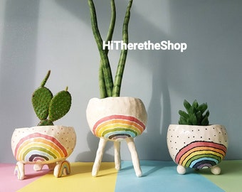 The Rainbow Pot Collection - Ceramic, handmade succulent pot cactus pot, hanging planter, outdoor planter, pottery gift ideas. Garden décor.