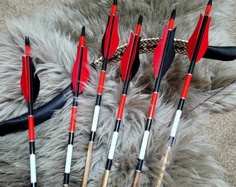 The Crimson Knights - Black Red - Handmade Wooden Arrows. Traditional archery. Suitable for longbow, horsebow, recurve. A set of six arrows.