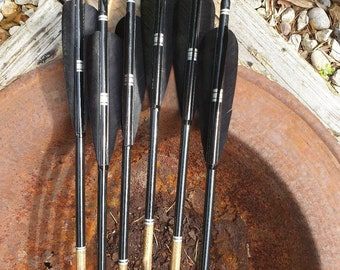 """The Shadows -All blacks Handmade Wooden Arrows. Traditional archery. Suitable for longbow, horsebow, recurve. A set of six arrows. Up to 32"""""""