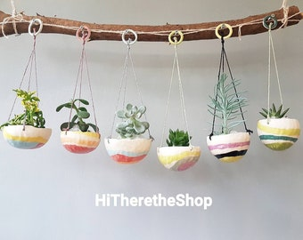 The Rainbow Candy Collection, hanging planter, hanging plant pot, succulent pots, pinch pots, colourful designs, home studio pottery.